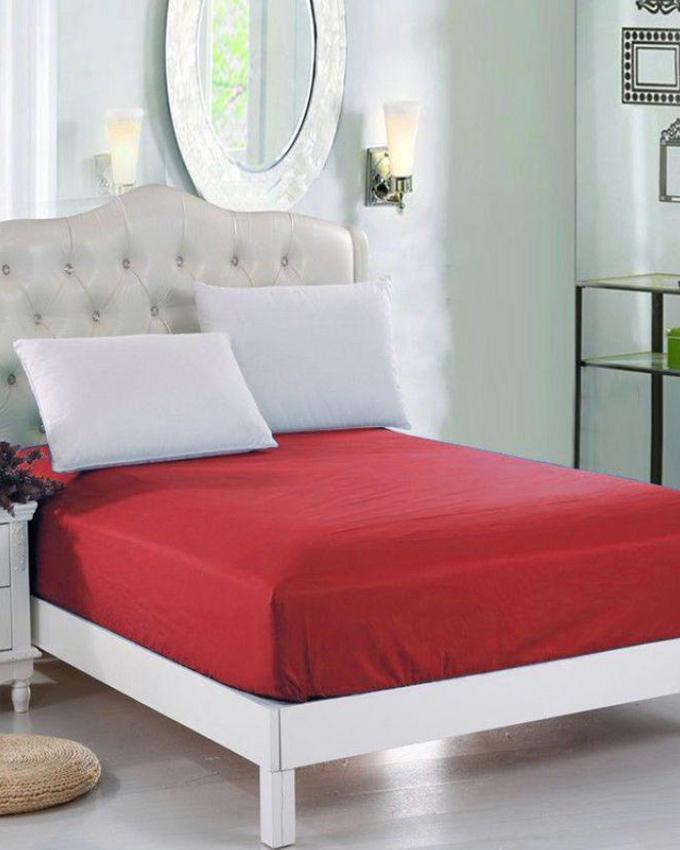 Red Jersey Fitted 100% Cotton Bed Sheet   Single Bed