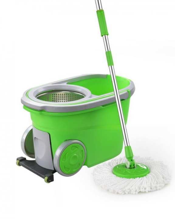 DLP05S - 360 Walkable Spin Mop With 3 Smart Wheels & Storage Box - Green