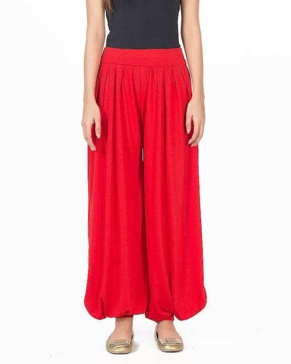 Red Viscose Harem Pant For Women - M D Z -112 - R E D