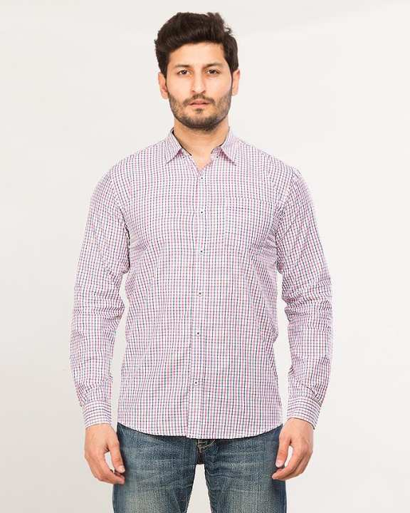 White Men's Long Sleeve Checkeredshirt
