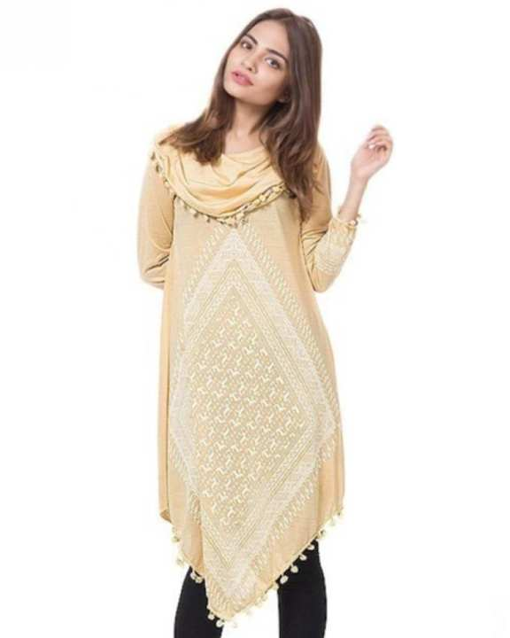 Beige Printed Viscose Polyester & Viscose Tunic For Women