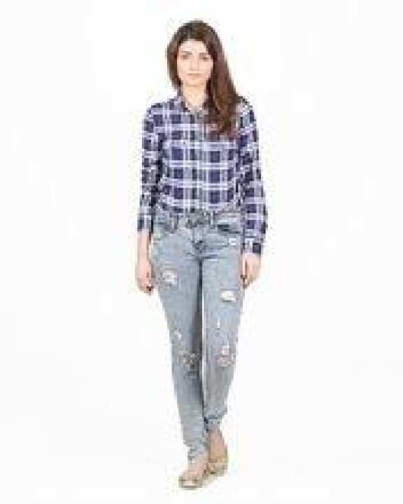 Light Blue Denim Ripped Jeans For Women