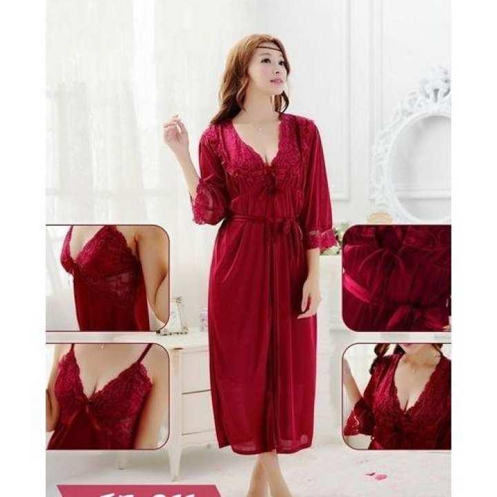 Maroon – 3 pcs Long Silk Night Gown For Women