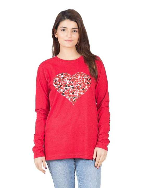 Red Cotton Heart Printed T-Shirt for Women