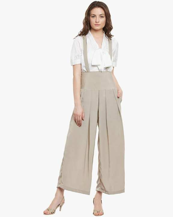 Grey Chiffon Cross Strapped Jumpsuit for Her - SI-838