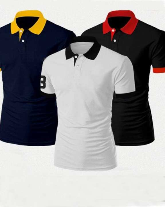 Pack of 3 - Multicolor Cotton Designer Polo Collar T-shirts