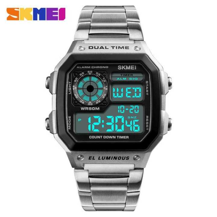 SKMEI 1335 Men Sports Watches Count Down Waterproof Watch Stainless Steel Fashion Digital Wristwatches