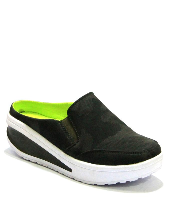 0550-23159 Dark Green E-Budget Upper Swift Leather Sole Rubber Shoes For Women