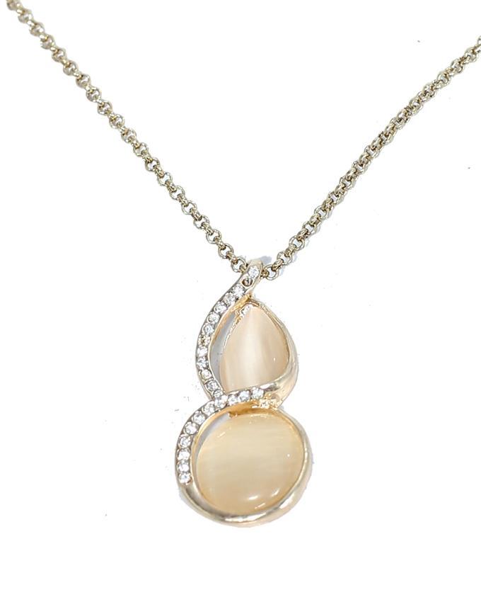 Golden Alloy Opal Necklace for Women - NL-0027