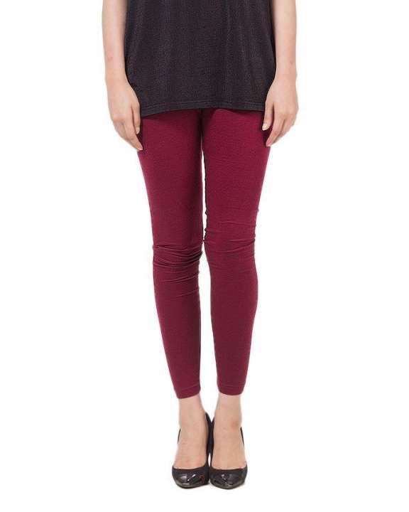 Maroon Cotton Tights For Women