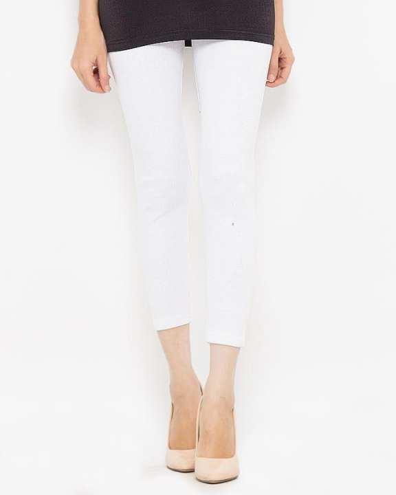 White Rib Lycra Cotton Tights