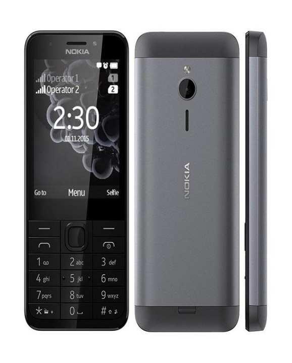 "Nokia 230 - Dual Sim - 2.8"" - Flash Camera - Dark Silver"