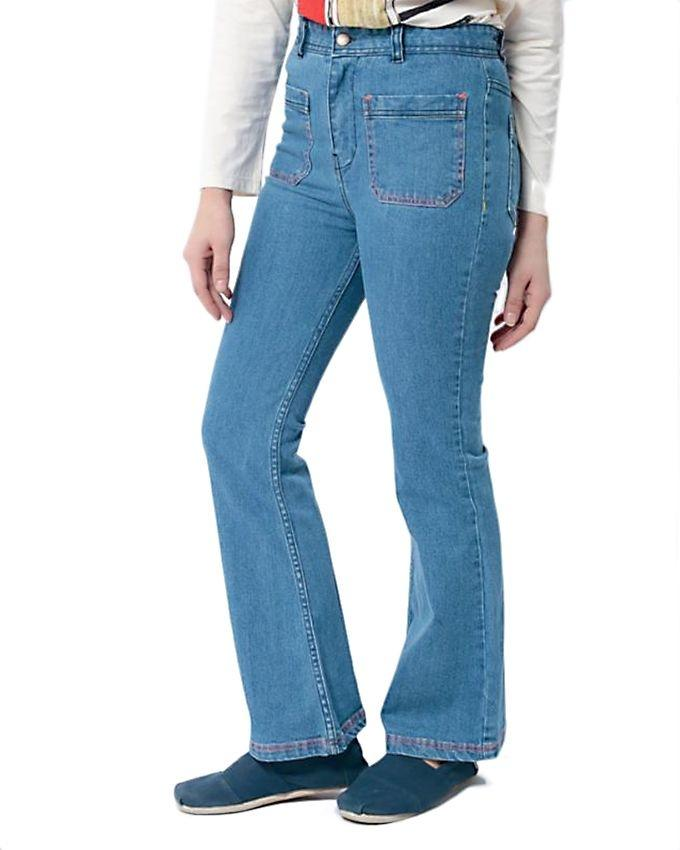 Light Blue Flared Fit Palazzo Jeans for Women - MD-048-A