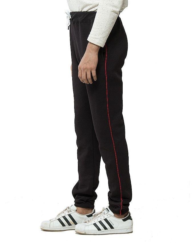Black Cotton & Polyester Trouser for Men