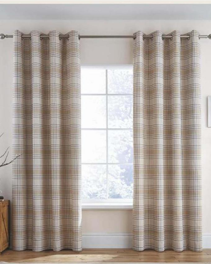 00W4 - Cotton Ayshire Design Curtain - Brown