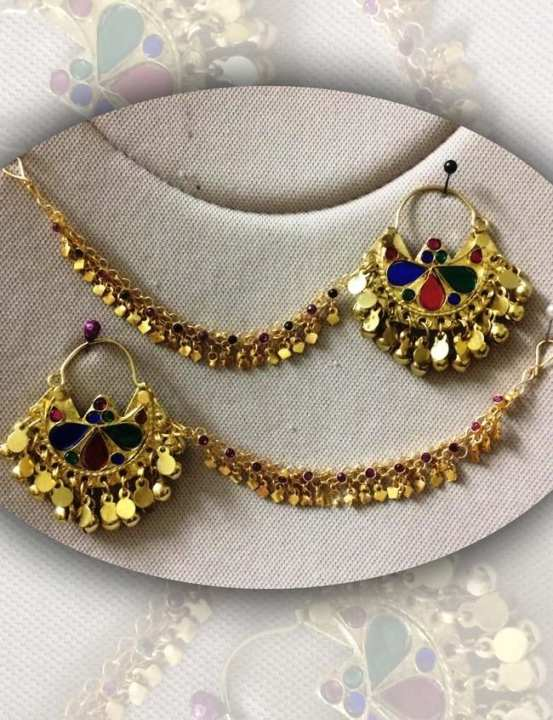 Earring With Chain (Earring With Sahara) Golden - Jewellery