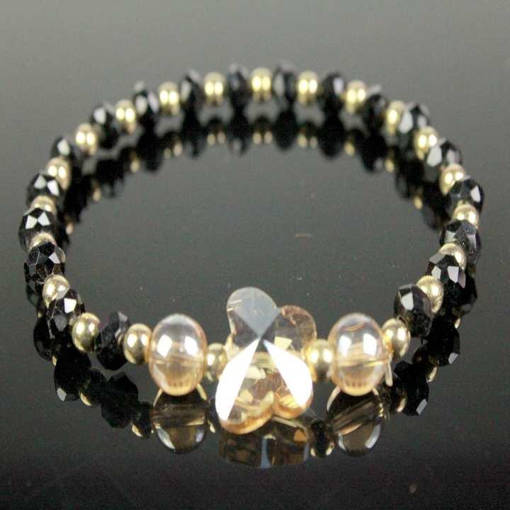 Trendy Butterfly Bracelets For Women, Girl With Black, Golden Beads