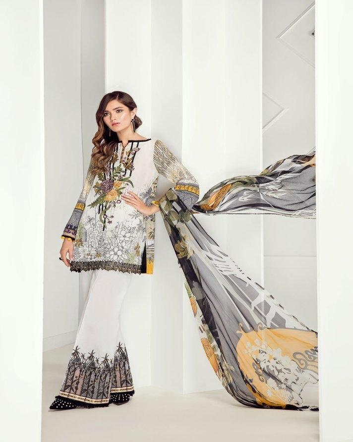 86185058a9311 Fuchsia 3Pcs Digital Printed Lawn Shirt And Chiffon Dupatta, Embroidered  Neckline,Front And Trousers
