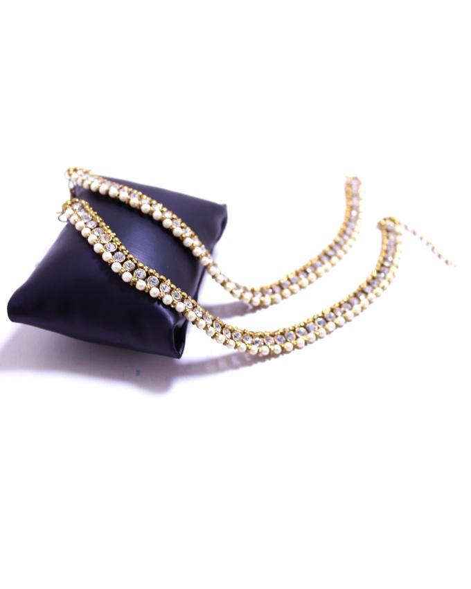 Golden & White Metal Anklet For Women