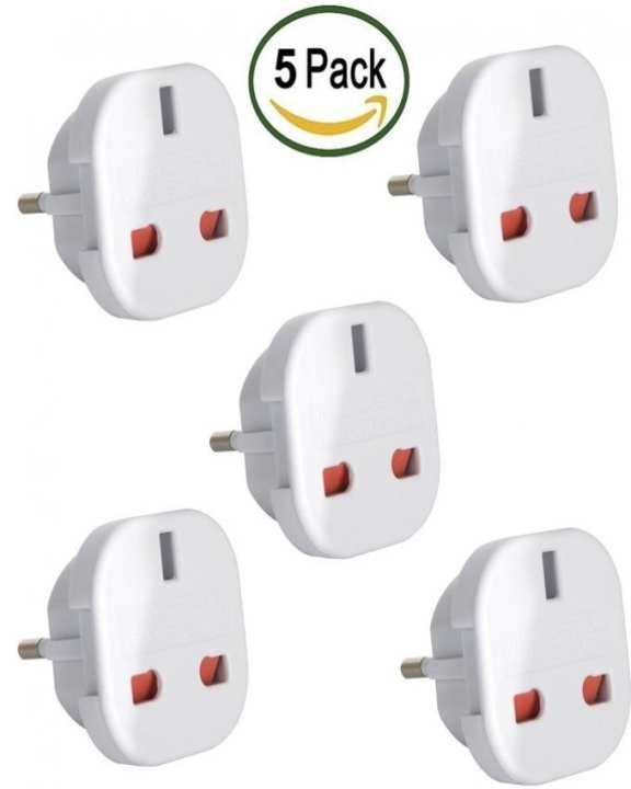 Imported Quality Travel Adapter - Uk To Eu Euro European Adapter Plug 2 Pin - Pack Of 5 - White