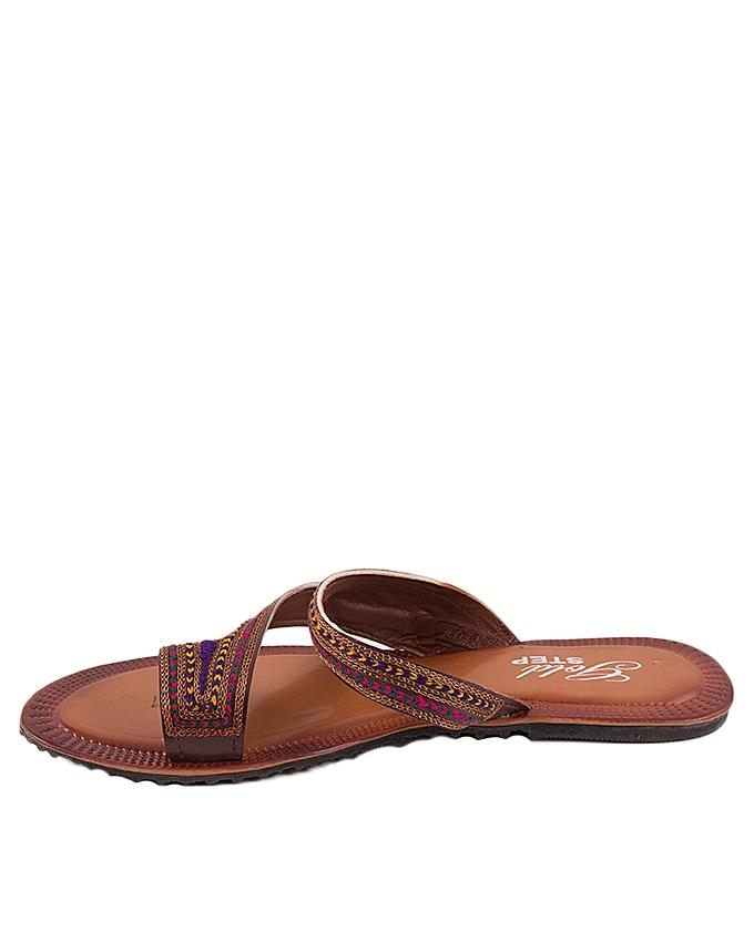 Brown Leather Z Shaped Toe Loops for Women - US1