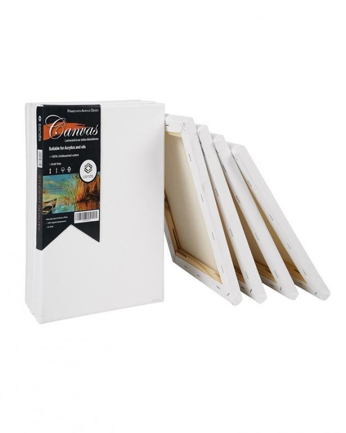 3-Pcs Blank Canvas Board Wooden Framed For Painting - 12x18-inch
