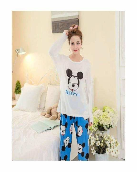 Rex Bazar - Sleepy Mickey Mouse Printed Night Suit For Women