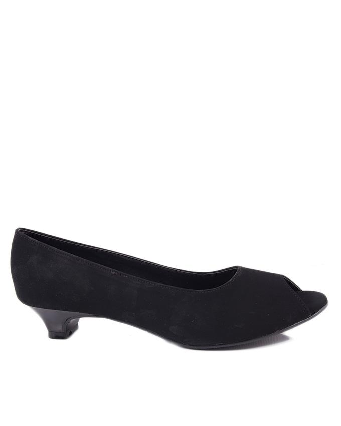 Black Synthetic Leather Pumps for Women - 4045/2 - US Size