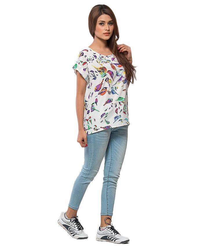 Multi Color Chiffon Birds Printed T-Shirt for Women - UBB067