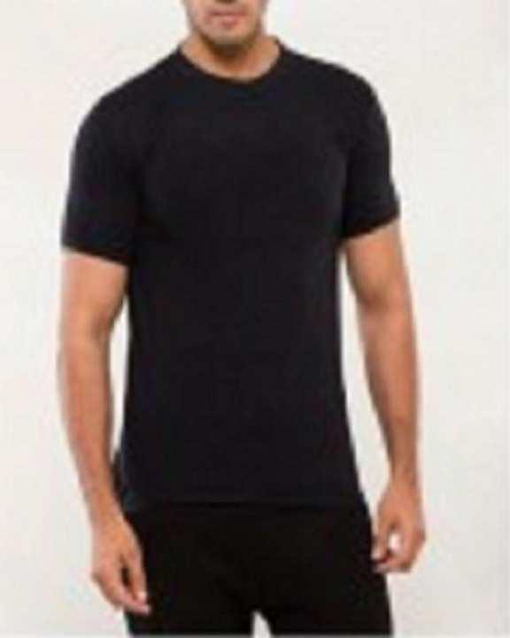 Black Round Neck Cotton T-Shirt For Men