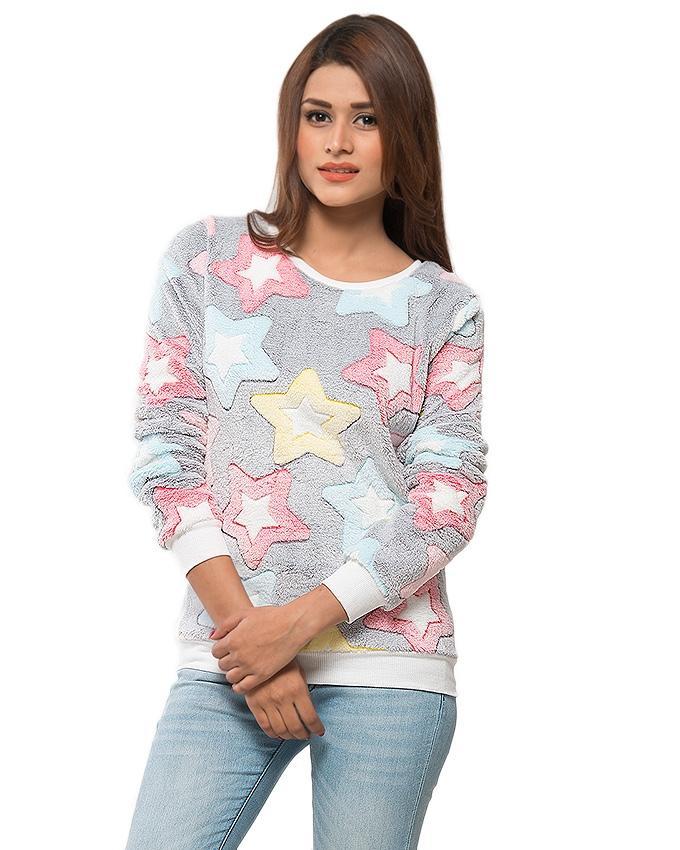 f34b282b81 Grey Polyester Elastic Stars Desing Sweater for Women - UBB056