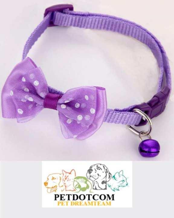 Cat Collar - Bowknot Bell Design -Purple- Nylon Dog Puppy Cat Collars - Adjustable Necklace Cat Harness
