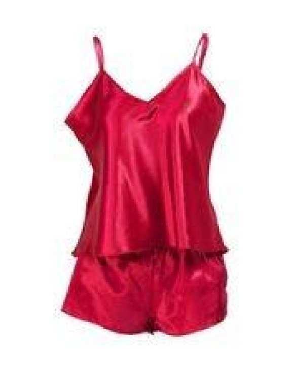 Burgundy Satin Cami Set Nightwear with Short