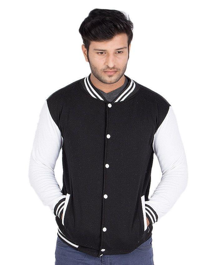 Black Fleece Baseball Jacket For Men - EP_1312