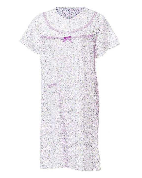 Plum Cotton Floral Nightwear For Women
