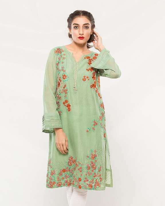 Teal Cotton Net Semi Formal Embroidered Kurta for Women