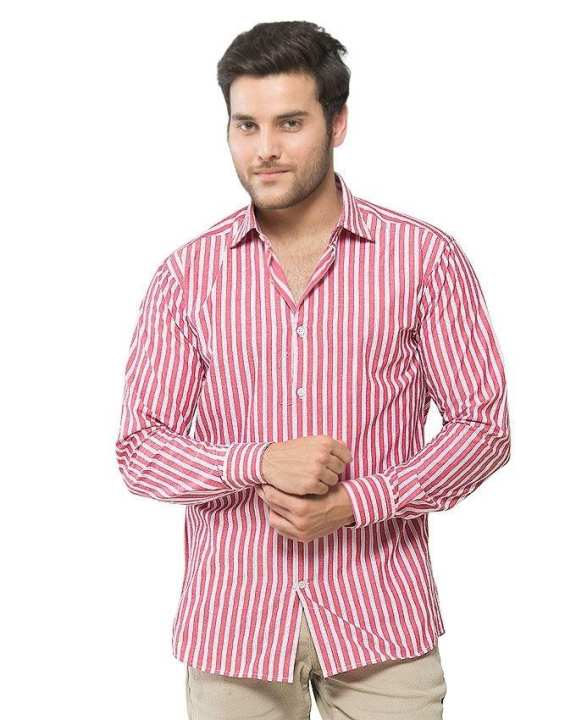 ACLIPSE - Red & Pink Cotton Striped Shirt for Men