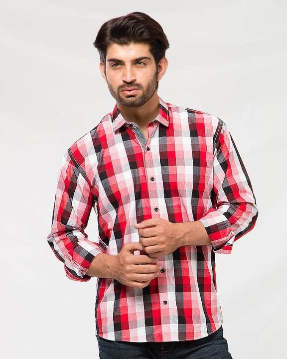 Red And Black  Cotton Checkered Shirt For Men
