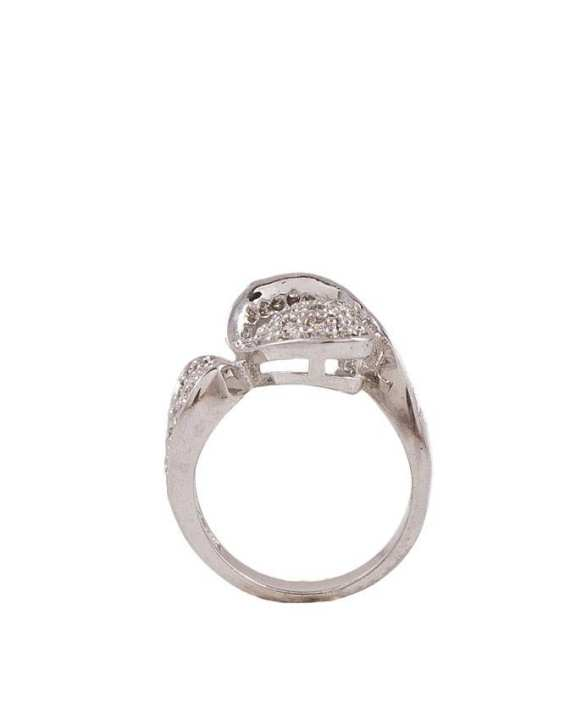 Silver Zircon & Alloy Studded Ring for Women - M-31