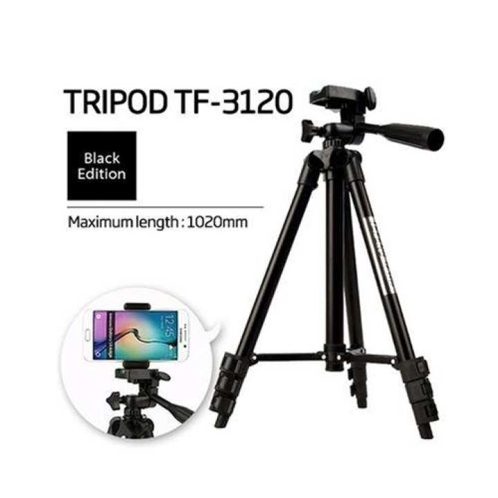 WT3120 - DSLR Camera Tripod Stand With Mobile Holder For Smartphones - Black