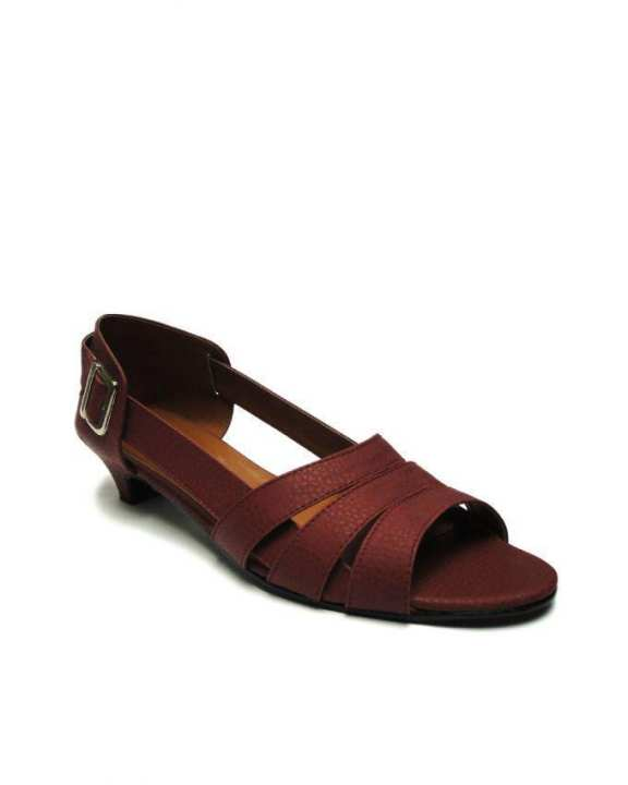Maroon Next Open Toe Slide on Heels - European Size