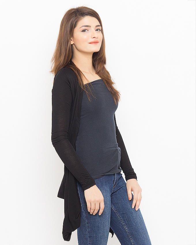 Black Polyester Shrug For Women
