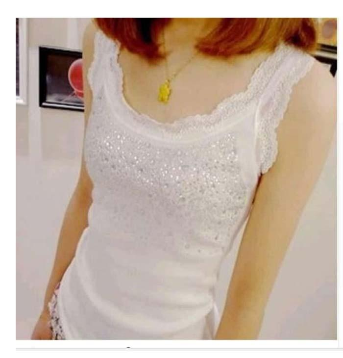 bf282121e75 Women Sexy Rhinestone Lace Stunning Based Sleeveless Vest Tank Top Tee T- Shirt Black