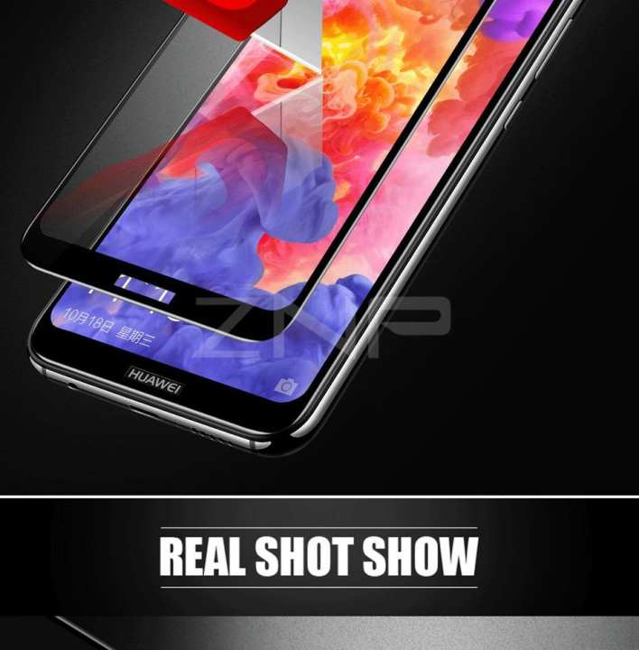 ZNP 5D Full Cover Tempered Glass For Huawei P20 Lite Screen Protector_ Protective Glass_100% Touch Sensitivity_All Black
