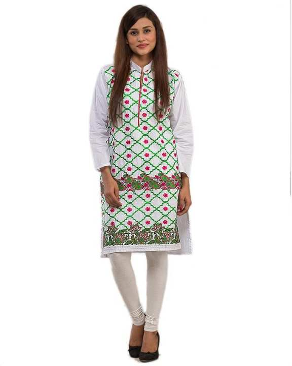 White Kurti with Embroidery for Women