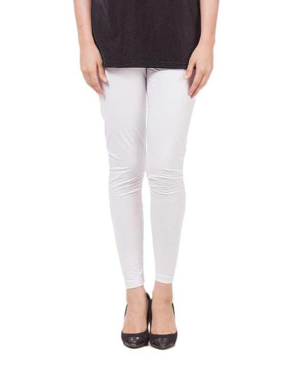 White Cotton Regular-Fit Tights & Leggings For Women