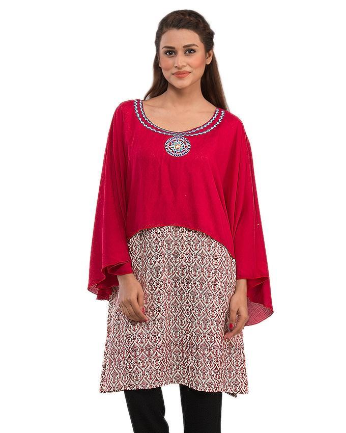 Cream Malai Printed Kurta with Neck Embroidery for Women - 14028