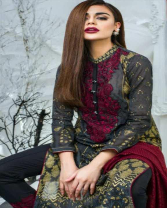 Black Redish Embroidery Lawn Unstitched Suit - 3Pcs