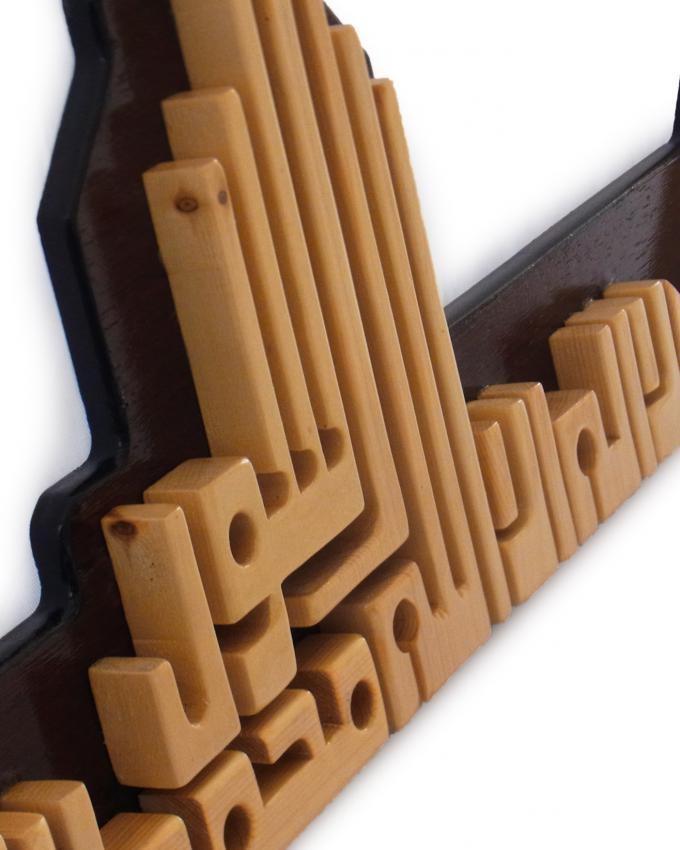 Calligraphy Wall Art - Brown - Wengé Base (36 inches)