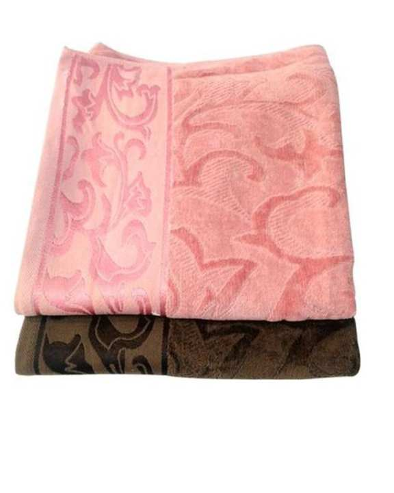 Set Of 2 - Luxurious Cotton And Velvet Bath Towels